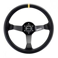 Руль спорт Sparco R 345 вынос 63мм кожа 350мм. Три спицы.